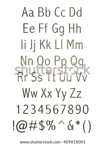 3D metallic alphabets with digit signs on isolated white background.