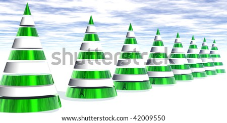 3D Metallic Christmas Trees in a Row