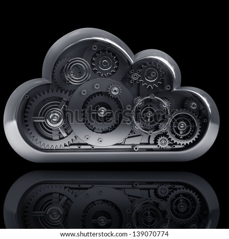 3d metallic cloud with gears box isolated on black background. High resolution
