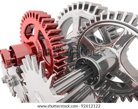 3d metallic gears background. Work concept.