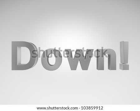 "3D metallic text ""Down"" on gray background"