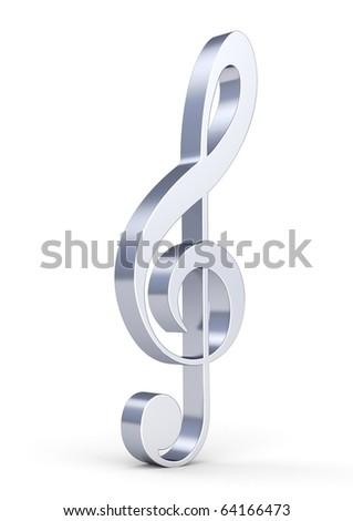 3d metallic treble clef isolated on white background