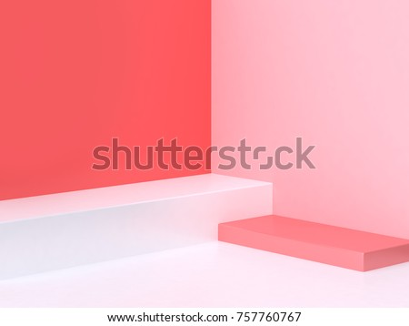 3d minimal abstract pink-red background wall corner scene square podium 3d rendering