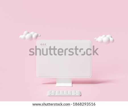 3D Minimal desktop with blank screen mockup, Empty screen for text, and logo replacement concept. 3d render illustration.