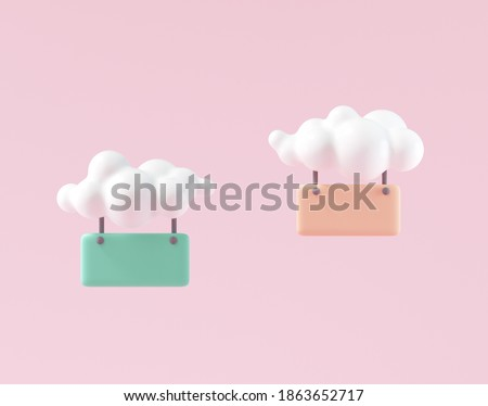 3D Minimal Hanging Chat bubbles by Cloud, Comment, hanging sign for text replacement on pink background. 3D rendering illustration.