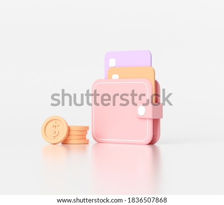 3D minimal money saving concept. wallet and coins, credit card on white background, 3d icon.