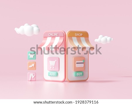 3D Minimal online shopping on smartphone application service, digital marketing, online buying, and online payment concept. 3d banner background.