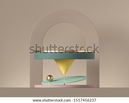 3d minimal postmodern abstract background with primitive geometric shapes. Blank cylinder platform, golden ball, yellow cone, neutral arch.