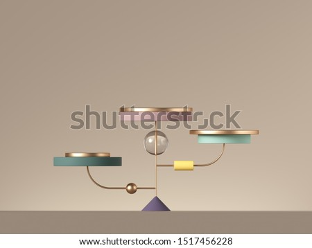3d minimal postmodern abstract background with primitive geometric shapes. Blank cylinder platforms placed on golden wire. Product showcase stand for shop.