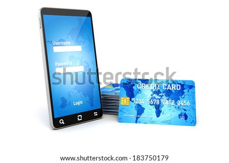 3d mobile phone and credit cards, online shopping concept