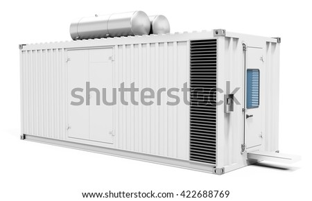3d mobile power station container on white background 3D illustration #422688769