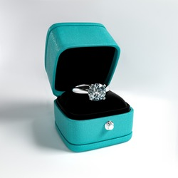 3d model a diamond ring in box with artificial skin and velvet
