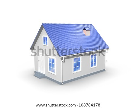 3D model house on a white background