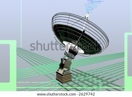 3d model of a ground satellite communicating data