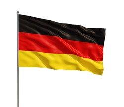 3d model of a waving German flag. isolated on white background.