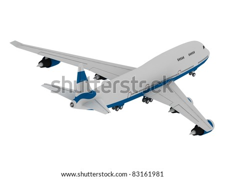 3D model of airplane isolated on white background