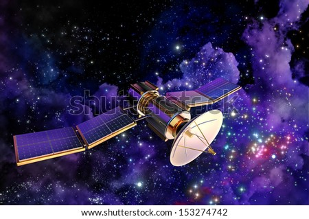 3D model of an artificial satellite of the Earth, equipped solar panels and parabolic satellite communications antenna