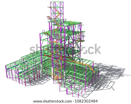 3D model of an industrial building made of metal structures. Abstract background of construction, design, installation and survey. 3D rendering. Isolated on white.