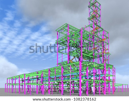 3D model of an industrial building made of metal structures. Abstract background of construction, design, installation and survey. 3D rendering.