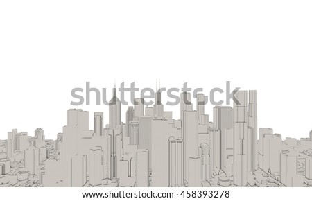 3D model of city on white background … Stock Photo 441257479