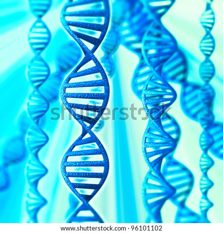 3d model of DNA on a blue background