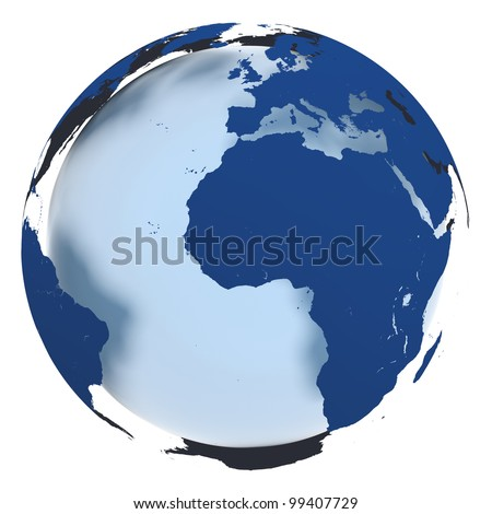3D model of Earth in elegant blue coloring with continents hovering over the sphere. World map provided by visibleearth.nasa.g ov - stock photo