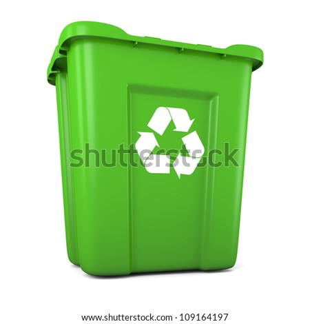 3D model of empty green plastic recycle bin