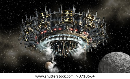 3D model of futuristic alien space ship in interstellar deep space travel for sci-fi backgrounds