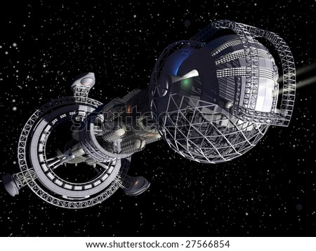 3D model of futuristic space ship in interstellar travel background
