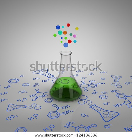 3D model of glass test tube with green liquid and bubbles on chemical diagram