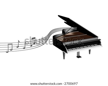 3d model of grand piano with music notes flying