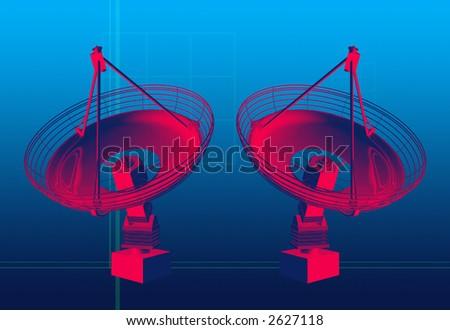 3d model of ground satellites communicating data