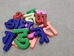 3D model of Hindi alphabet the language used by millions and millions of people in India. It is the official language of India. The model used here are for the children to feel these letters of Hindi.