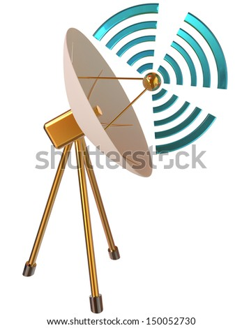 3D model of parabolic satellite communications antenna as symbol satellite technology