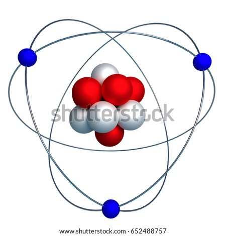 3d model of the nucleus of an atom with protons and neutrons surrounded by orbiting electrons isolated on white. 3d render, 3d illustration
