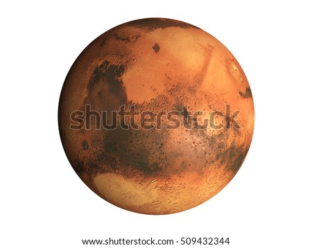 Shutterstock 3D Model of the planet Mars isolated on white background, high resolution. Some elements of this image furnished by NASA. 3D Render