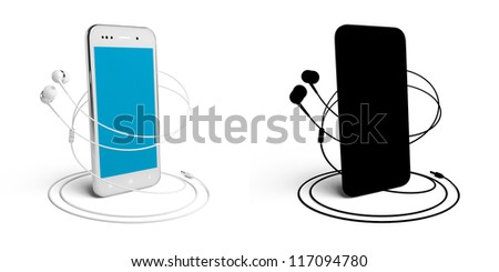 3D model of the smartphone and headphones, isolated on white, with the mask.  Color - white. Screen - clean.