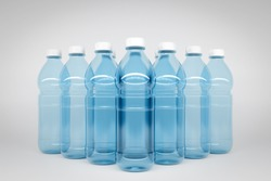 3D model of transparent plastic bottles with a size of 1.5 liters. Bottles stand in even rows symmetrically in the form of a pyramid on a white isolated background