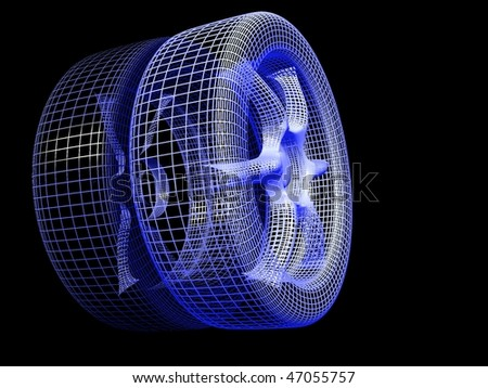 3D model of wheel with reflection