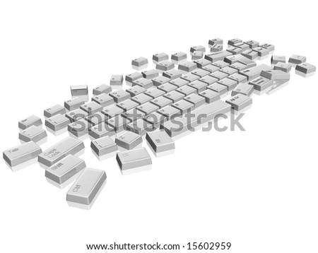 3d model white keyboard