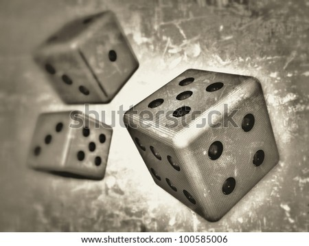 3D-modeled dice, representing topics such as game and gambling, as well as concepts such as random, fate and probabilities