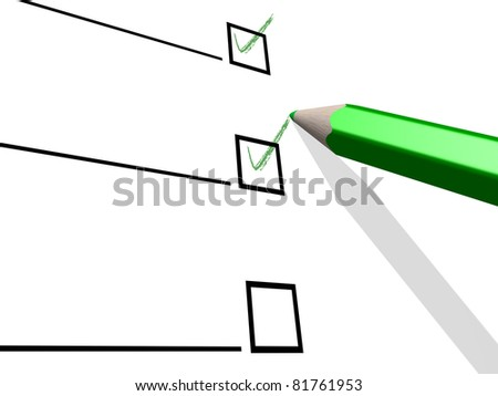 3D-modeled green pencil accompanied with a check-list - stock photo
