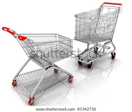 3d models shopping carts isolated on white background