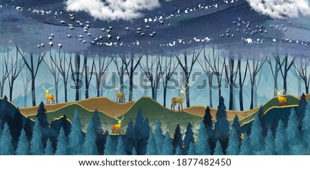 3d modern art mural wallpaper with dark blue Jungle , forest  background . golden deer, christmas tree , mountains , clouds with white birds . Suitable for use as a frame on walls .