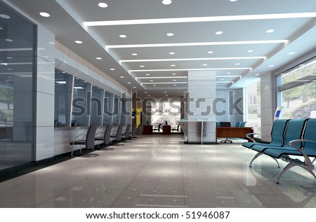 3d modern business hall