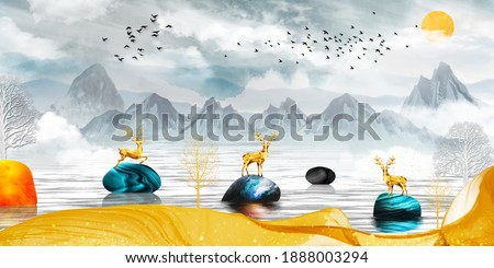 3d modern canvas art mural wallpaper landscape lake background . golden deer, christmas tree ,  gray mountain , sun with clouds and birds . Suitable for use as a frame on walls .