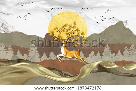 3d modern canvas art mural wallpaper with brown, forest and white marble background . golden deer, christmas tree , mountain , sunrise with white birds . Suitable for use as a frame on walls .