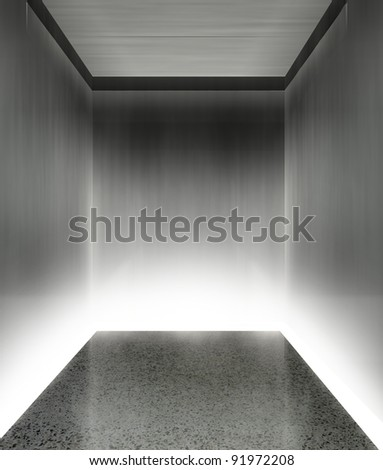 3d modern elevator interior with illumination - stock photo