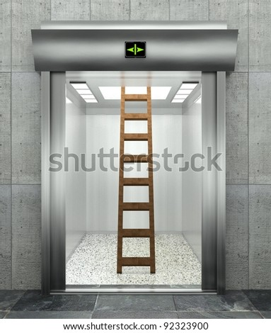 3d modern elevator with ladder, symbol of unexpected problem