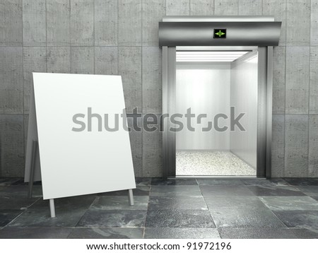 3d modern elevator with open door and empty frame
